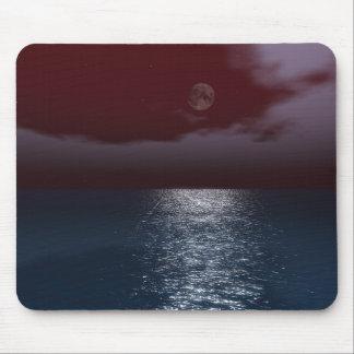Dark Red Night Sky Moonlit Sea Mousepad