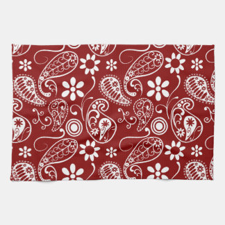 Dark Red Paisley; Floral Kitchen Towel