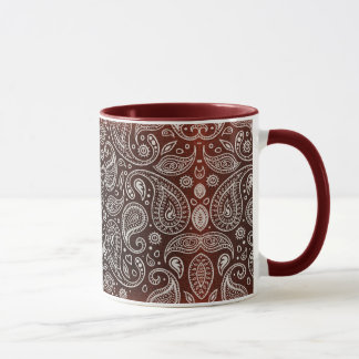 Dark Red Paisley Mug
