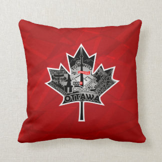 Dark-red pillow with maple leaf special design