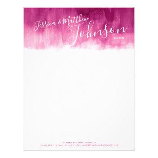 Dark red pink modern art couple letterhead