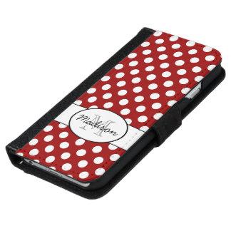 Dark red polka dots monogram iPhone 6 wallet case