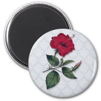 Dark Red Single Hibiscus Blossom Magnet