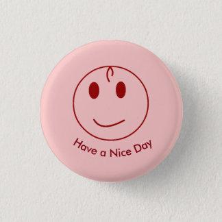 Dark Red Smiley Face 1 Inch Round Button