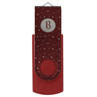 Dark red snowy dotted custom monogram USB flash drive