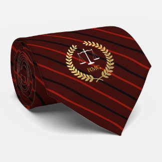 Dark Red Stripes Custom Initials Lawyer Tie