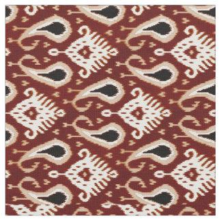 Dark Red Taupe Brown Ikat Tribal Pattern Fabric
