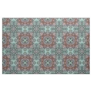 Dark Red Teal Blue Green Bali Batik Pattern Fabric