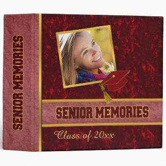 Dark Red Traditional Style Class Senior Memories Vinyl Binder