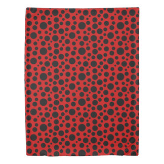 Dark Red w/Black Circles Duvet Cover