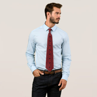 Dark Red Wavy Lines and Odd Circles Tie