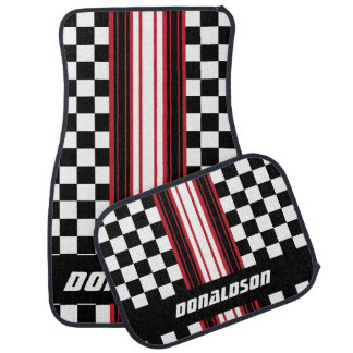 Dark Red, White & Black Checks | Personalize Car Mat