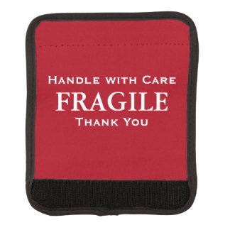 Dark Red White Fragile Handle with Care Thank You Luggage Handle Wrap