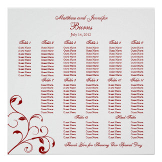 Dark Red & White Wedding Reception Seating Chart Poster