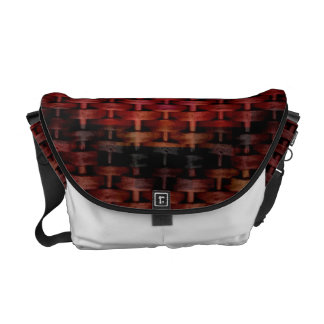 Dark red wicker art graphic design courier bags