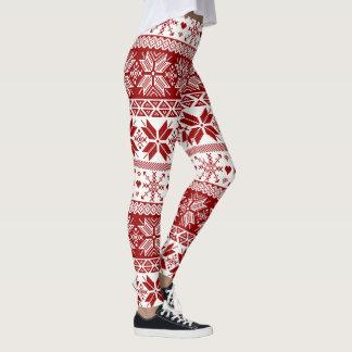 Dark Red Winter Fair Isle Pattern Leggings