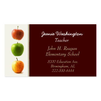 Dark Red with Apples Teacher's Business Card