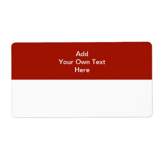 Dark Red with white area and text. Shipping Label