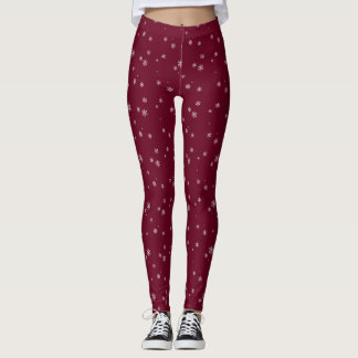 Dark Red With White Snowflakes Leggings
