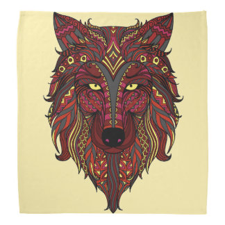 Dark Red Wolf Head gray burgundy Bandanna