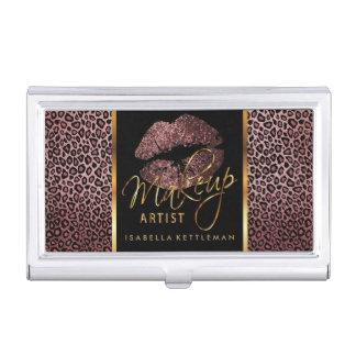 Dark Rose Glitter Lips on Gold & Leopard Business Card Holder