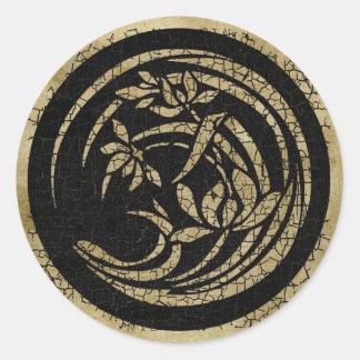 Dark Round Floral Motif Round Sticker