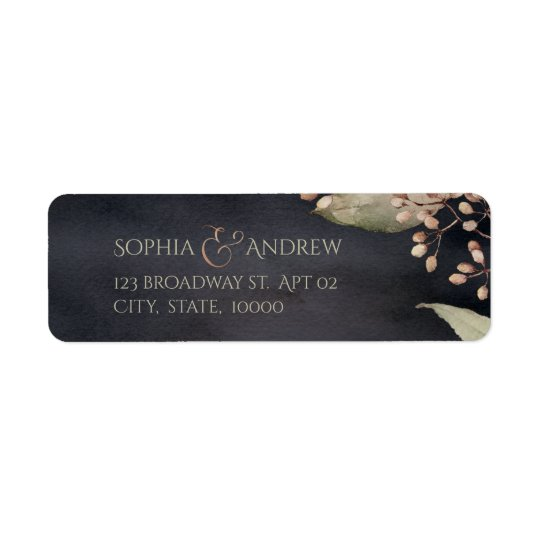 Dark rustic botanical greenery return address