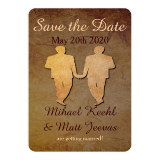 "Dark Rustic Save the Date Card Gay Wedding 4.5"" X 6.25"" Invitation Card"
