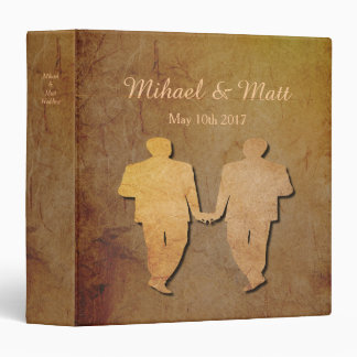 Dark Rustic Vintage Texture Gay Wedding Album Vinyl Binder