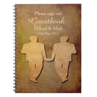 Dark Rustic Vintage Texture Gay Wedding Guestbook Notebooks