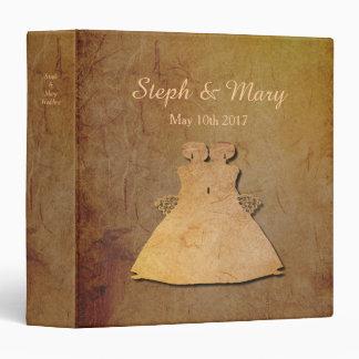 Dark Rustic Vintage Texture Lesbian Wedding Album Vinyl Binder