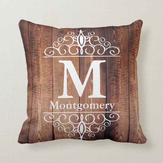 Dark Rustic Wood Planks White Scrolls Monogram Throw Pillow