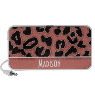 Dark Salmon Leopard Animal Print Mp3 Speaker