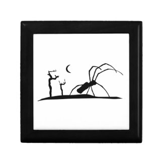 Dark Scene Silhouette Style Graphic Illustration Gift Box