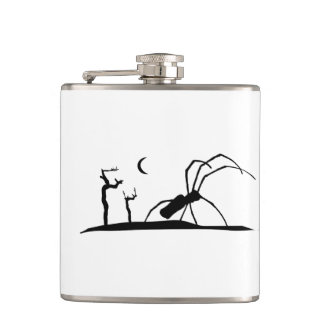 Dark Scene Silhouette Style Graphic Illustration Hip Flask