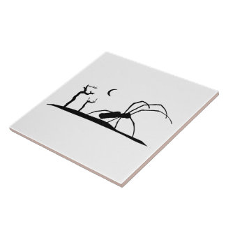 Dark Scene Silhouette Style Graphic Illustration Tile