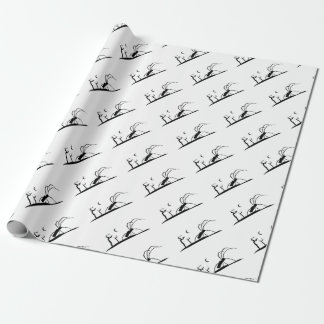 Dark Scene Silhouette Style Graphic Illustration Wrapping Paper