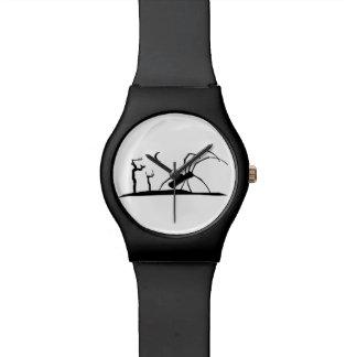 Dark Scene Silhouette Style Graphic Illustration Wristwatch