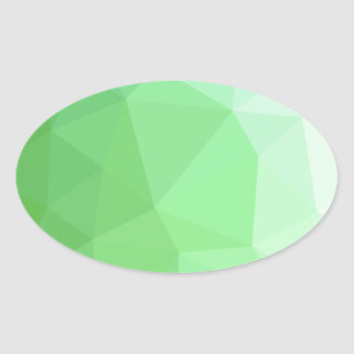 Dark Sea Green Abstract Low Polygon Background Oval Sticker