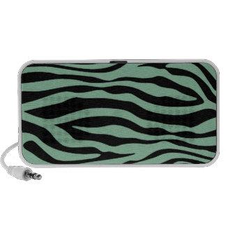 Dark Sea Green Zebra Stripes Animal Print Speaker System