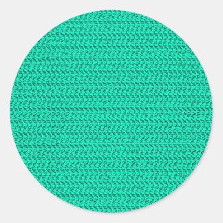 Dark Seafoam Green Weave Mesh Look Round Sticker