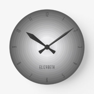 Dark Shades of Grey Modern Custom Name Monogram Round Clock