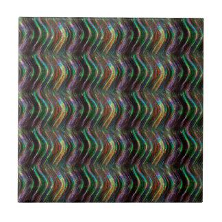 Dark Shiny Holographic Wave Pattern Pixel Ceramic Tile