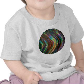 Dark Shiny Holographic Wave Pattern Pixel T-shirt