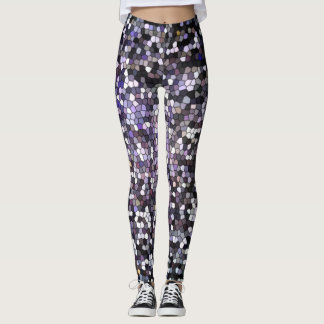 Dark Silver Stained Glass Mosaic Design Cool Leggings
