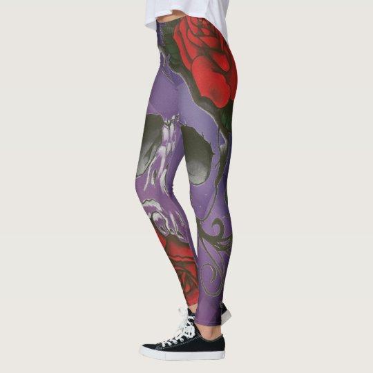 dark skull rosebud womens leggings