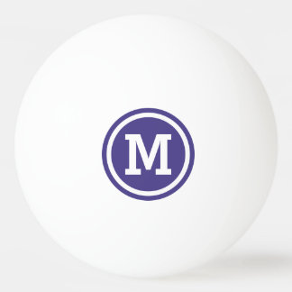 Dark Slate Blue Circle Monogram Ping Pong Ball