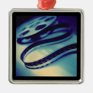 Dark Spool of Film Silver-Colored Square Ornament