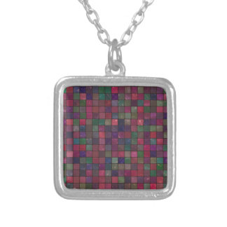 Dark squares silver plated necklace