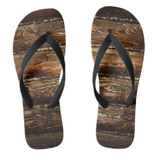 DARK STAINED WOOD WALL FLIP FLOPS